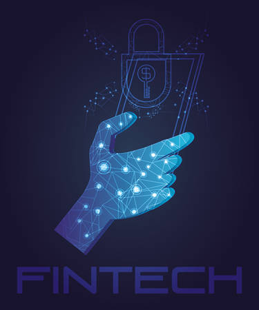 hand using smartphone with fintech concept vector illustration design