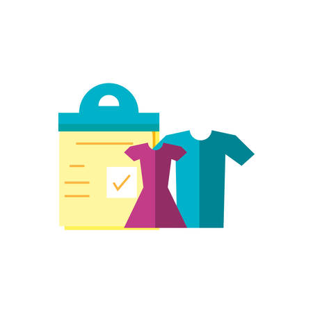 set of clothes with checklist clipboard vector illustration design Ilustração
