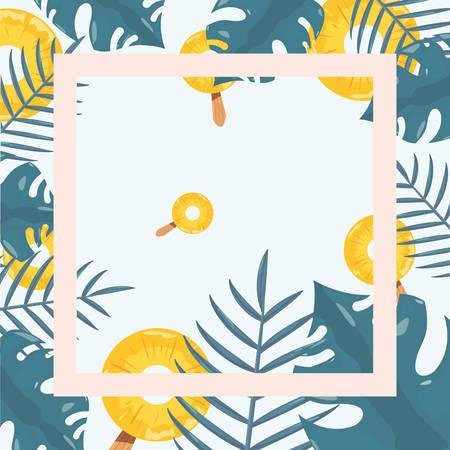 summer time holiday banner tropical leaves pineapple  vector illustration Иллюстрация