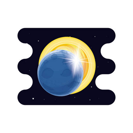 eclipse solar space scene vector illustration design Çizim