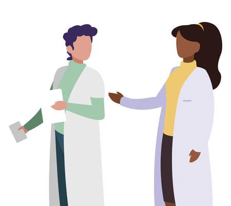 interracial couple medicine workers with uniform characters vector illustration Çizim
