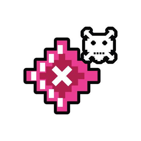 video game danger skull pixelated vector illustration design Çizim