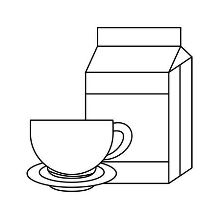 milk in box with cup and dish vector illustration design