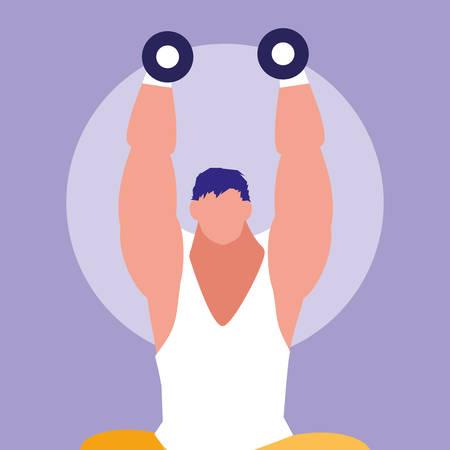 young man lifting dumbbells avatar character vector illustration design