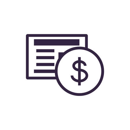 coin dollar with document vector illustration design
