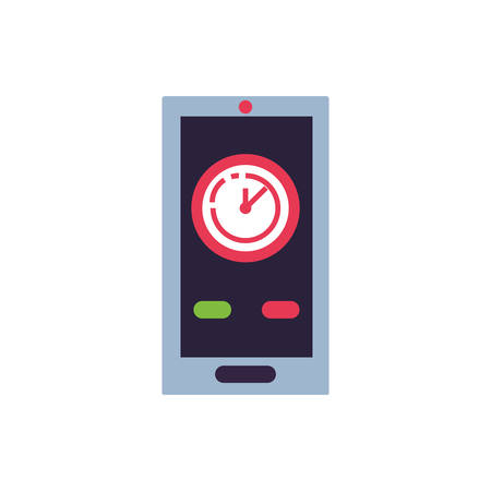 clock time with smartphone device vector illustration design