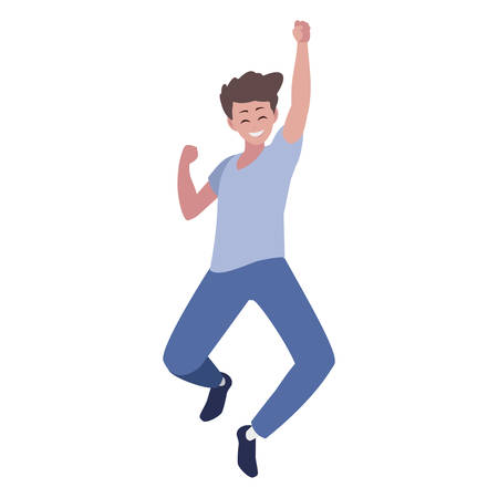 happy young man celebrating character vector illustration design