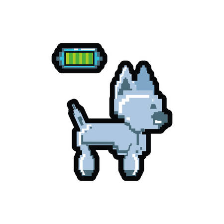 video game pixelated robotic dog with battery level vector illustration design