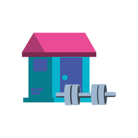 dumbbell sport with house facade vector illustration design