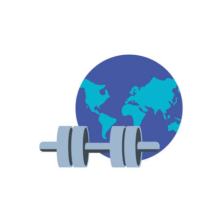 dumbbell sport with planet earth vector illustration design