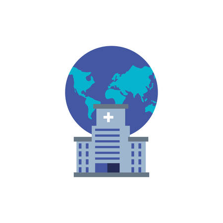 hospital structure with planet earth isolated icon vector illustration design Çizim