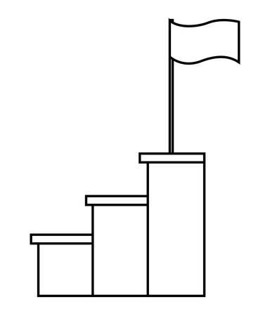 success flag in stairs up vector illustration design Ilustração