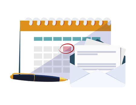 calendar reminder with envelope and pen vector illustration design Иллюстрация