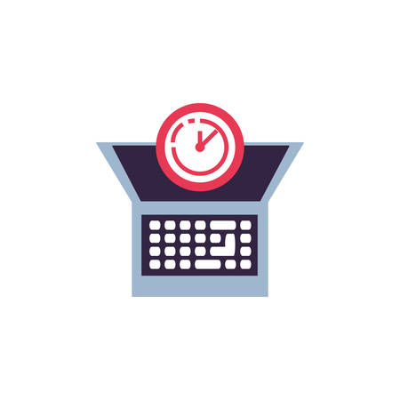 clock time with laptop computer vector illustration design Иллюстрация
