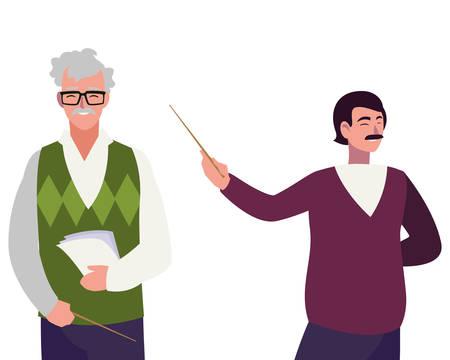 teachers couple avatars characters vector illustration design Иллюстрация