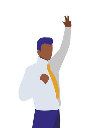 elegant businessman black celebrating character vector illustration design Illustration