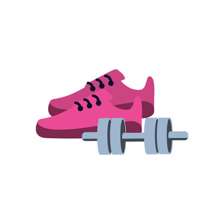 dumbbell with shoe sport isolated icon vector illustration design Illustration