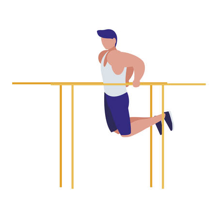 athletic man practicing exercises in bars vector illustration design