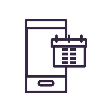 calendar reminder with smartphone vector illustration design Иллюстрация