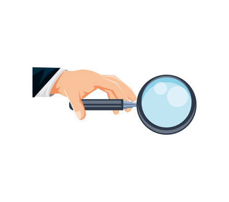 hand with search magnifying glass icon vector illustration design Ilustração