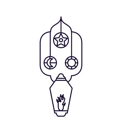Ramadan Kareem lamps hanging vector illustration design Çizim