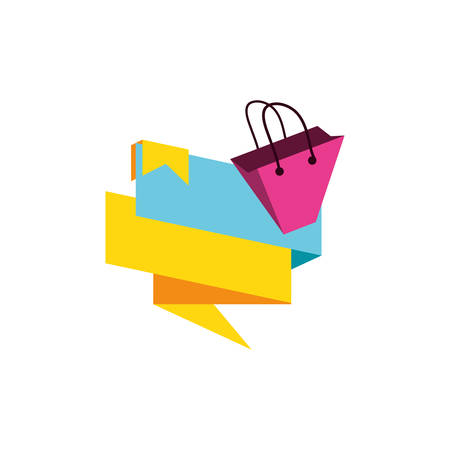 shopping bag with ribbon isolated icon vector illustration design