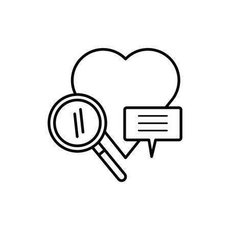 search magnifying glass with heart love vector illustration design