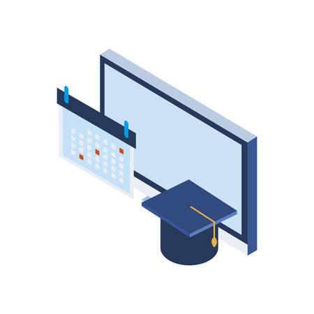 calendar reminder with graduation hat vector illustration design Иллюстрация