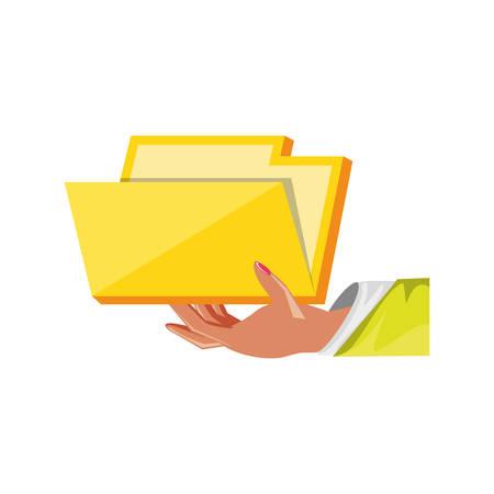 hand with folder document isolated icon vector illustration design Иллюстрация