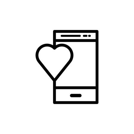smartphone with heart love vector illustration design Ilustração