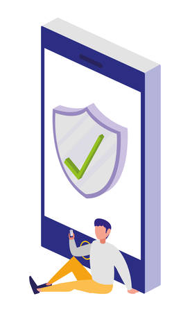 smartphone with security shield vector illustration design