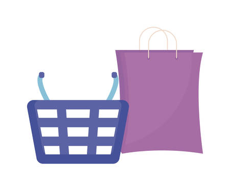 basket and bag shopping isolated icon vector illustration design