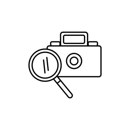 camera photographic with magnifying glass vector illustration design 일러스트