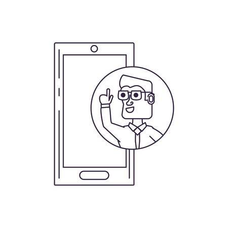businessman with hand up in frame circular and smartphone vector illustration design