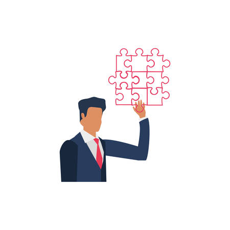 businessman with puzzle pieces isolated icon vector illustration design Иллюстрация