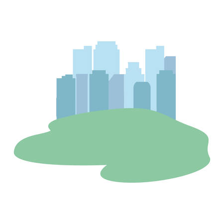 cityscape buildings panorama silhouette white background vector illustration