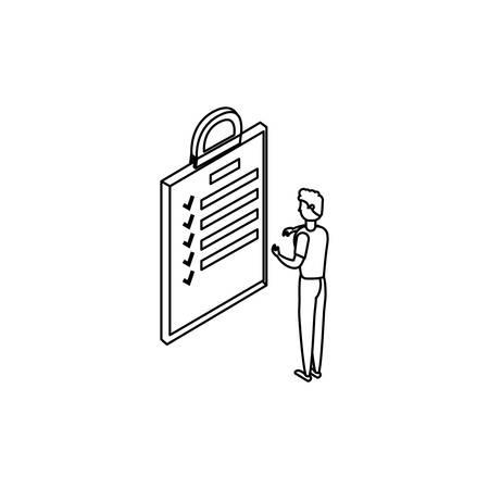 businessman worker with checklist vector illustration design Illusztráció
