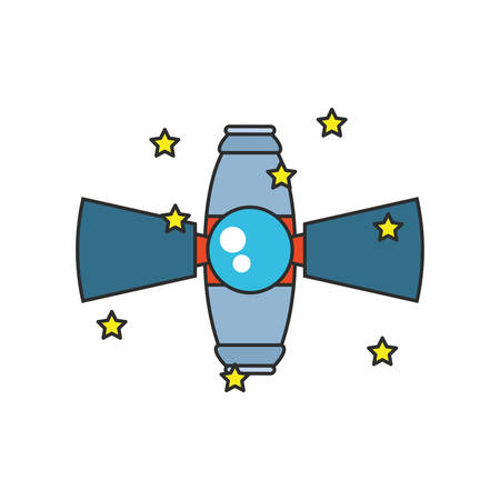 space satellite with set of stars isolated icon vector illustration design