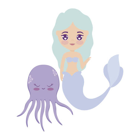 cute mermaid with octopus animal vector illustration design