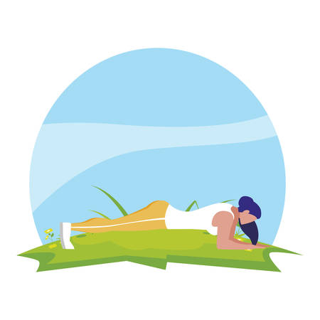 athletic woman doing push up in the camp vector illustration design