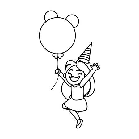 cute happy girl with birthday balloons helium vector illustration design Illustration
