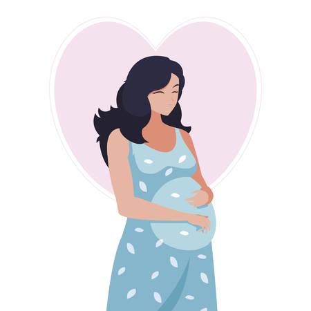 Belle femme enceinte en conception d'illustration vectorielle de caractère coeur