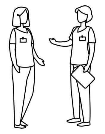 female medicine workers with uniform characters vector illustration design Illusztráció