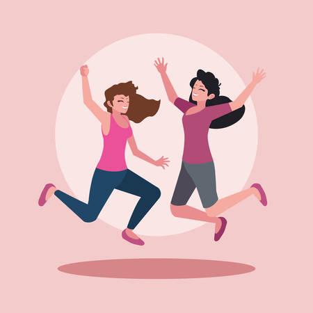 group of young women happy celebrating with hands up vector illustration design Ilustração