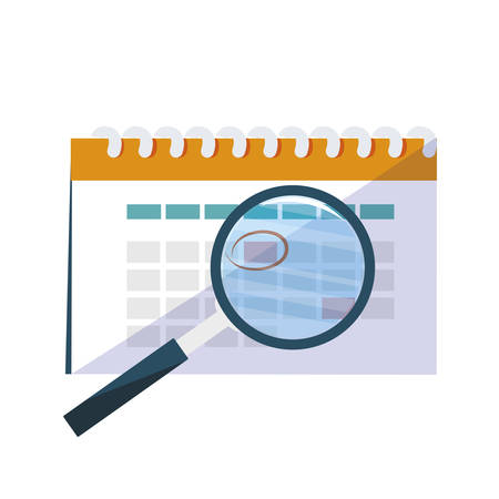 search magnifying glass with calendar vector illustration design