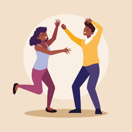 young afro couple celebrating with hands up vector illustration design