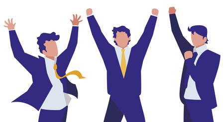 elegant businessmen celebrating characters vector illustration design