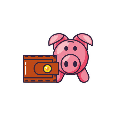 piggy bank with wallet money vector illustration design
