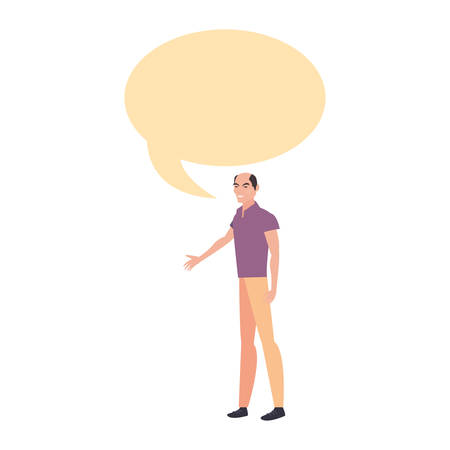 man with casual clothes character talking on white background vector illustration Illustration