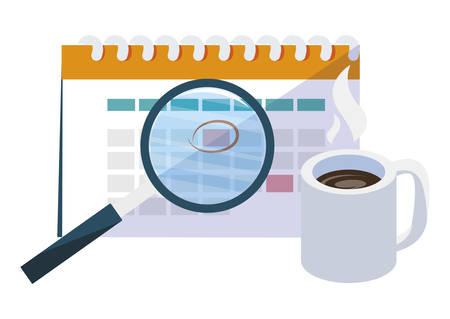 calendar reminder with coffee cup and magnifying glass vector illustration design Иллюстрация